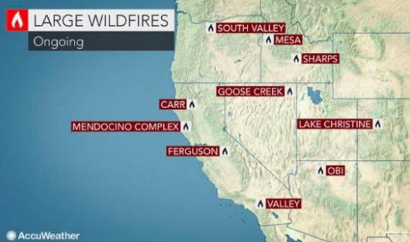 California fires 2018 map